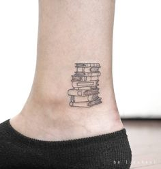 """6,702 Likes, 86 Comments - Small Tattoos (@small.tattoos) on Instagram: """"Book stack by @be.tattoo · Berlin  via @tattoofilter"""""""