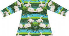 Materialien:  * Baumwolljersey - De Melkbrigade, Summer Swans Jersey (Breite: 155cm)   50cm (Größe 56 - 86)   100cm (Größe 9...