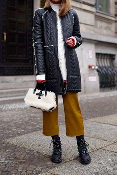 More on www.offwhiteswan.com  Longchamp Leather Long Bomberjacket, Knit Red Details by Zara, Culotte yellow by Zara, Fur Bag by Longchamp, Lace Up Boots by Zara, Winter Streetstyle, Fashion, Trend 2017, Berlin Fashion Week 2017 #swantjesoemmer #offwhiteswan