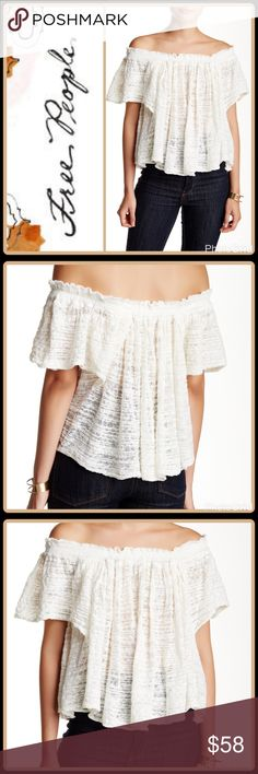 """FESTIVAL PEASANT BLOUSE An off-shoulder design elongates your neck and torso in the see-through Thrills & Frills Top!  ▪️Off-the-shoulder neck ▪️Short sleeves ▪️Approx. 16"""" length ▪️81% cotton, 19% nylon ▪️Dry clean or hand wash cold  🛍 2+ BUNDLE=SAVE  ‼️NO TRADES--NO HOLDS--NO MODELING  💯 Brand Authentic  ✈️ Ship Same Day--Purchase By 2PM PST  🖲 USE BLUE OFFER BUTTON TO NEGOTIATE   ✔️ Ask Questions Not Answered In Descript Free People Tops Blouses"""