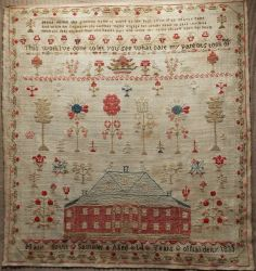 EARLY 19TH CENTURY LINEN & WOOL RED HOUSE SAMPLER BY MARY SCUTT 1833