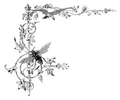 Vintage Graphic Bracket - Scrolls and Jeweled Bee - The Graphics Fairy
