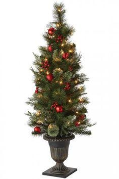 Martha Stewart Living™ Festive Cedar and Pine Entrance Tree - Faux Christmas Trees - Artificial Christmas Trees - Faux Xmas Tree - Entryway Tree - Pre-lit Christmas Tree | HomeDecorators.com