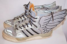 Jeremy Scott Wings Adidas Men's Collectible Trainers Shoes Silver Size 10 UK