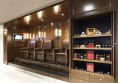 The Grove has its own place where you can get your shoes all clean and shiny - and we designed their logo. Barber Equipment, Shoe Shine Box, Kiosk Design, Clean And Shiny, Clean Shoes, Store Displays, Master Closet, Stand Design, Shoe Shop