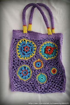 bolso gehaakte tas sac crochet purple