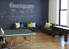 """The New York headquarters of location-based social network Foursquare is filled with themed rooms based on the digital badges users earn from """"checking-in"""" at different places using the service."""