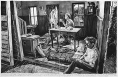 1. 'Jim had left, said the letter on his desk...', houtskool op doek, 2013. 2. 'The ferryman...', houtskool op doek, 2014. 3. Rinus Van de Velde bij zijn werk 'You can hear separate voices underneath the static...'