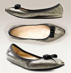 Salvatore Ferragamo Ballerina My Joy Flat Ballet Shoe Mercurio Leather Bow 10-40