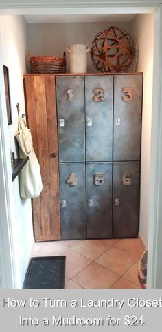 How to Turn a Laundry Closet into a Mudroom for $24 {960468} #laundry #storage #ideas #laundrystorageideas This might be the most chic storage idea you'll see today!