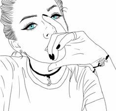 Pin by toto toto on رمزيات كارتونية in 2019 zeichnungen, mädchenzeichnungen Tumblr Outline, Outline Art, Outline Drawings, Cute Drawings, Drawing Sketches, Girl Drawings, Hipster Drawings, People Drawings, Drawing Art
