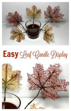 Easy Leaf Candle Display #Prep4Gathering [ad]
