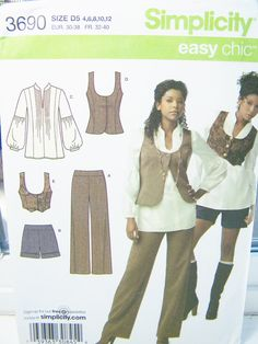 Simplicity 3690 Sewing Pattern - Misses'  Poet's Blouse,  Corset Vest, Flared Pants and Cuffed Shorts, Easy to Sew Size 4 to 12 by WitsEndDesign on Etsy