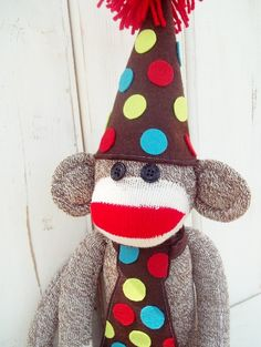 Boys Birthday Sock Monkey Doll, Brown, Chartreusse, Red, and Aqua with Hat and Tie, Customize Your Sock Monkey.  via Etsy.