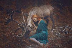 stunning portrait with real animals by katerina plotnikova