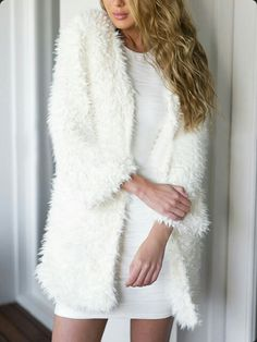 Cheap coat chain, Buy Quality sweater cap directly from China sweater red Suppliers: Hot Women Long Sleeve Knitted Cardigan Loose Sweater Outwear Jacket Coat Sweater Long White Coat, White Faux Fur Coat, Long Fur Coat, Faux Fur Jacket, White Long Sleeve, White Fur, Snow White, Langer Mantel, Sweater Coats