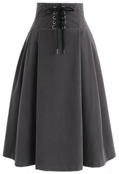 Lace Up For Your Love High Waist Velvet Skirt in Grey - Retro, Indie and Unique Fashion Look Fashion, Unique Fashion, Hijab Fashion, Fashion Outfits, Womens Fashion, Skirt Outfits, Cute Outfits, Led Dress, Velvet Skirt