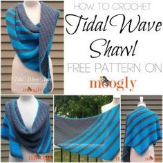 How to crochet the Tidal Wave Shawl - video tutorial on Moogly for both right and left handed! Crochet Scarves, Crochet Shawl, Crochet Yarn, Crochet Clothes, Easy Crochet, Free Crochet, Double Crochet, Crochet Stitches, Knit Cowl