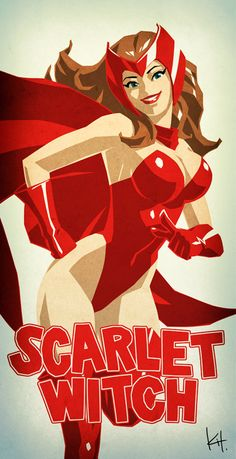 Marvel And DC Female Superhero Illustrations - Scarlet Witch Wanda Marvel, Hq Marvel, Marvel Dc Comics, Marvel Heroes, Marvel Women, Marvel Girls, Comics Girls, Charlie Chaplin, Comic Books Art