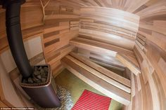 A second-generation Finnish craftsman, Mika, grew up with an electric sauna in his home in Finland, a country that averages one sauna per household Mobile Sauna, Portable Sauna, Wood Spa, Spa Rooms, Airstream, Mail Online, Daily Mail, Finland, Craftsman