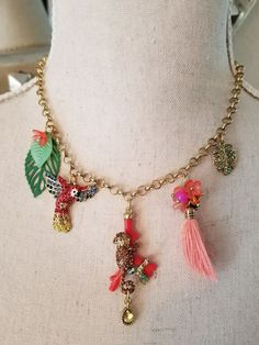 Betsy Johnson Tropical Rain Forrest  Monkey Necklace Parrot Flowers Coral Leaves #BetseyJohnson #Charm