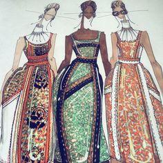 Three's a crowd, make sure you're in the right dress. #Prada Spring 2015 brocade. #MucciaPrada Triplets. #JLarkowskyIllustration