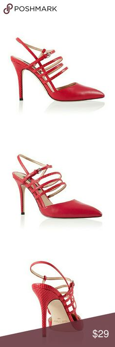 POINTED TOE STRAPPY RED HEELS POINTED TOE STRAPPY RED HEELS Description Red heels with sleek pointed toe, strappy vamp and snake embossed texture. Breathable lining. Super-comfortable memory foam footbed. Synthetic sole. NWOT White House Black Market Shoes Heels