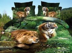 Lion And Tiger Green Bedding Animal Print Bedding 3d Bedding Animal Duvet Cover Set