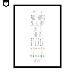 Little But Fierce, Shakespeare Inspirational Art Printable Poster, Wall Art for Nursery,. $9.00, via Etsy.