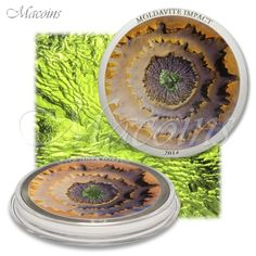 MOLDAVITE IMPACT Meteorite Silver Coin 5$ Cook Islands 2014 with Anniversary Box
