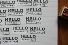 Project LIFE idea: I like how she made a list of all the things she is excited about using the Hello Stamp. Love the stamp...but for now could use current letter stamps and write word under it.