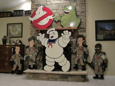 ghostbusters halloween yard art plywood cutouts finished up and ready for display