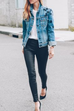 Jess Ann Kirby styles PAIGE leather pants and sweater with an embellished jean jacket and pumps