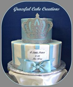 Look what Tara posted on here.Little Prince Baby Shower Cake. Torta Baby Shower, Baby Shower Pasta, Baby Shower Parties, Baby Shower Themes, Baby Boy Shower, Baby Shower Decorations, Shower Ideas, Icing Decorations, Shower Party