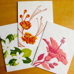 Tropical Blossoms letterpress cards from Mozaic Paper (available online). So pretty!