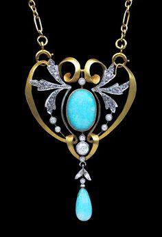 Delicate Art Nouveau opal and diamond-set brooch / pendant.