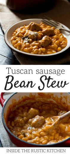 Tuscan bean stew with sausages made with cannellini beans, sausages, tomato, sage, and garlic. An extremely simple rustic Italian recipe that's perfect for chilly evenings. Authentic Italian recipes and traditional Italian recipes at Inside The Rustic Kitchen via @InsideTRK