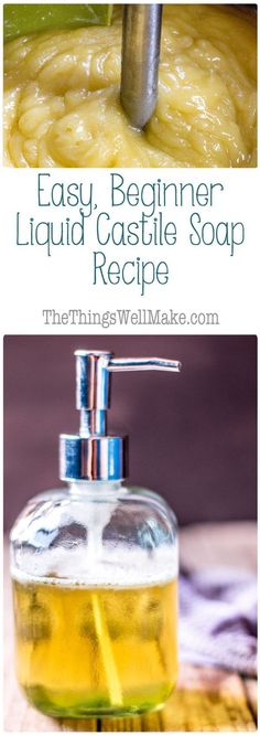 DIY liquid castile soap recipe is easy and inexpensive to make.