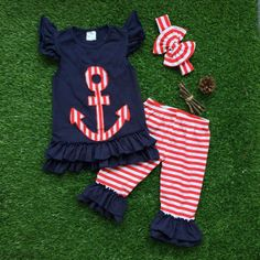 girls anchor outfits girls red stripes capris summer clothing shorts with matching headband