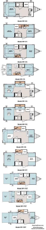 2011 Forest River R-Pod travel trailer floorplans - 11 models