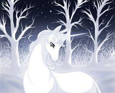 Last unicorn-winter by Jacky-Bunny Unicorn Fantasy, Unicorn Art, Fantasy Art, Fantasy Creatures, Mythical Creatures, Pegasus, Scotlands National Animal, Unicorn Tattoos, Moon Shadow