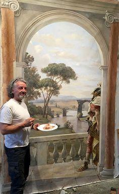 Pascal Amblard with his demonstration mural