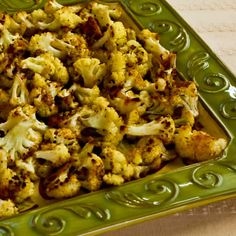 Roasted Cauliflower with Parmesan is easy to make, delicious, and diet-friendly! [from KalynsKitchen.com] #DeliciouslyHealthyLowCarb