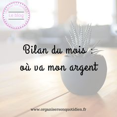 Bilan du mois, où va mon argent ? - Organiser son quotidien Mon Budget, Organiser, Budgeting, Place Cards, Place Card Holders, Money, Book Swapping, Things To Sell, Monthly Budget