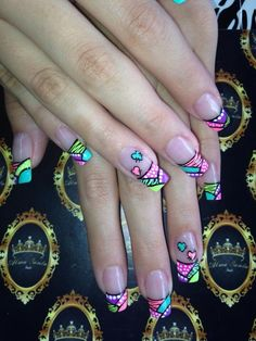 Fabulous Nails, Gorgeous Nails, Pretty Nails, Graffiti Nails, Nail Tattoo, Funky Nails, Long Acrylic Nails, Hot Nails, Gel Nail Designs