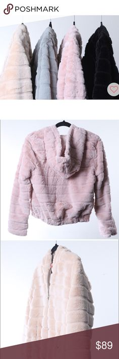 Faux fur cozy bomber jacket with hoodie! These are BRAND NEW BOUTIQUE ITEMS! Faux fur which is as soft as real chinchilla! Comes in 4 beautiful colors; pink, black, cream and gray! You'll love all 4! S-M-L available! Jackets & Coats