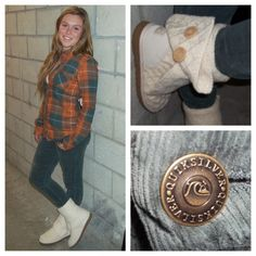 This is the perfect fall outfit to wear your favorite UGG boots with! It likes like she is rockin the UGG Classic Cardy boots!