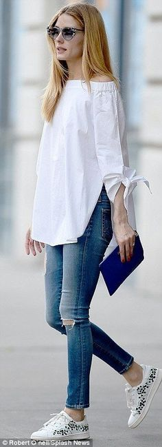 White top and shoes. Love on a Saturday morning.