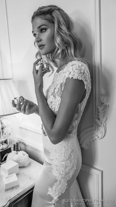 alessandra rinaudo 2017 bridal cap sleeves boat neckline lace bodice heavily embellished bodice satin skirt elegant sheath wedding dress lace back chapel train (britney) zsdv