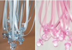 New 50pcs Clear Blue or Pink Plastic Mini Pacifier Necklaces for Boy or Girl Baby Shower Game supplies/fav